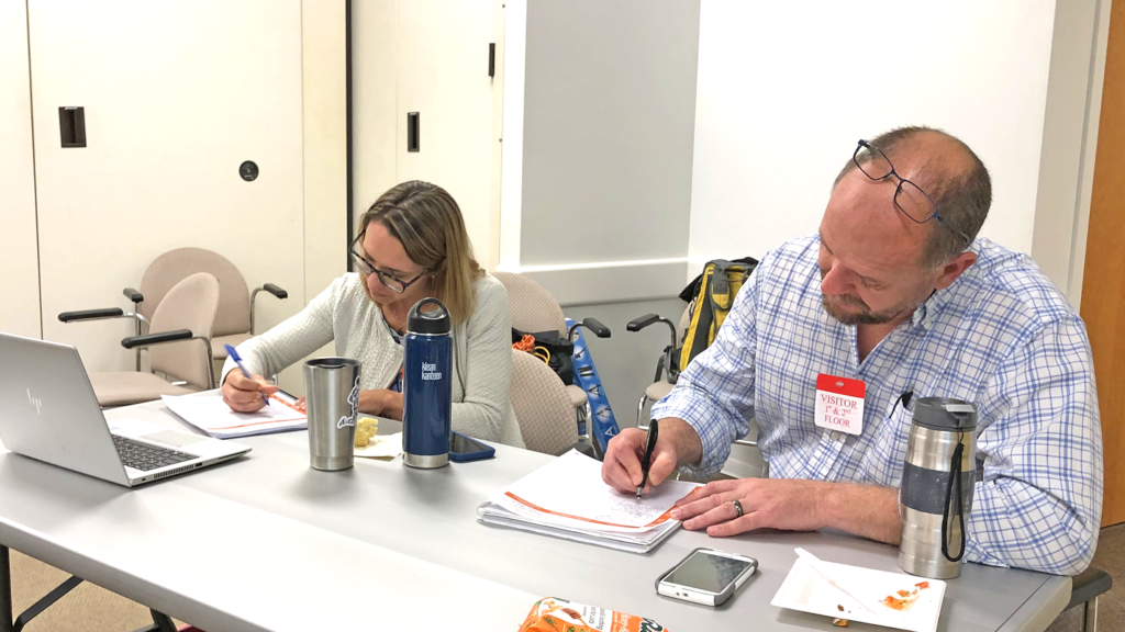"Scenes from the ""Connecting with Your Audience"" Workshop led by Ben Young Landis at the 28th Annual Meeting of NorCal SETAC, held at the California EPA Building on May 2nd, 2019."