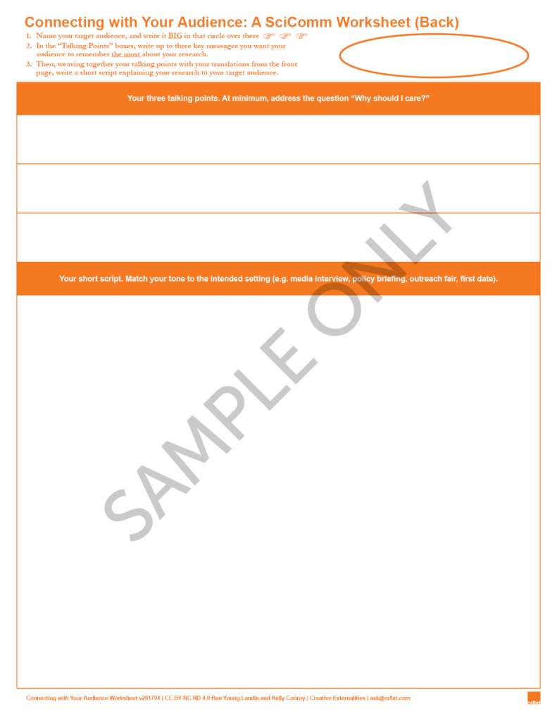A screenshot of the back of the Connecting with Your Audience worksheet, created by Ben Young Landis and Kelly Conroy. The top half of the sheet has three blank fields for the user to write down talking points, and the bottom half of the sheet has a large field for the user to write a short briefing script for explaining their science. A large circle on the upper right is empty, for the user to indicate the audience being communicated to. The workshset is in orange ink on white paper.