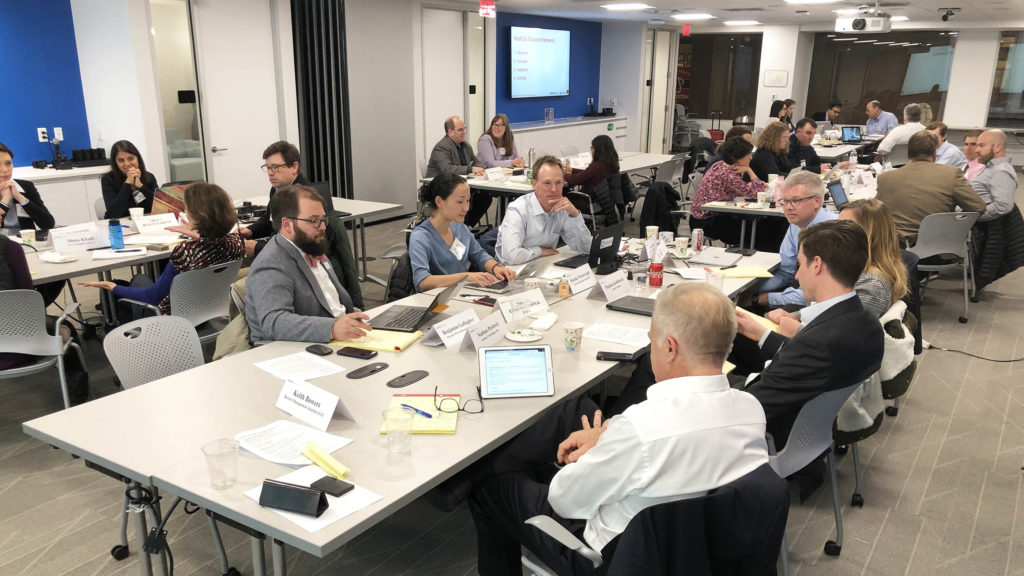 "Attendees participate in a breakout discussion during the EPRI-EPIC workshop ""Data Science Solutions to Environmental Challenges in the Electric Power Industry"" hosted at EPRI offices in Washington DC, Thursday, November 7, 2019. (Photo by Ben Young Landis)"